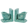 Benzara Beautiful Ceramic Sea Snail Shell Bookend W/ Detailed Features Turquoise