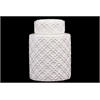 Benzara Cylindrical Shaped Ceramic Jar Embellished W/ Beautiful Motif In White