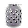 Benzara Ceramic Lantern With Metal Handle Octagram And 4-Point Star Design - Periwinkle