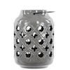 Benzara Ceramic Lantern With Metal Handle Octagram And 4-Point Star Design - Gray