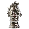 Benzara Ceramic Horse Head Decor On Pedestal - Chrome Silver