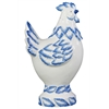 Ceramic Hen Decor With Blue Accents On Base