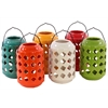Assorted Six Large Ceramic Tea Light Lantern With Metal Handle - Multi