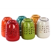 Six Large Assorted Ceramic Tea Light Lantern With Metal Handle