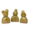 Ceramic Bird On Stone Assortment Of Three Gloss Mustard