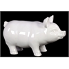 Benzara Smooth & Shiny Cheerful Ceramic Pig In White Large