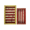 Benzara Set Of Two Wood Shadow Box With Striped Red Backing