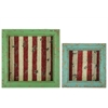 Benzara Set Of Two Wood Shadow Boxes With Striped Red Backing