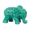 Benzara Embellished W/ Beautiful Motifs Adorable Ceramic Elephant In Turquoise