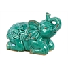 Benzara Sitting Ceramic Elephant W/ Raised Trunk Embellished - Turquoise