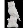 "Benzara 11"" Porcelain Owl On A Tree Stump Large Gloss White - White"