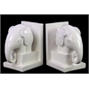 Benzara Ceramic Elephant Bookend On Box Stand Set Of Two