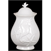 Ceramic Seashell Canister Embellished W/ Seahorse & Starfish Motifs In White Large