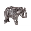 Benzara Beautifully Decorated Resin Elephant Figurine In Silver Large