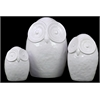 Ceramic Owl Figurine W/ Big Round Eyes Set Of Three In White