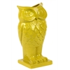 Benzara Beautiful & Spectacular Owl Design Ceramic Vase In Yellow
