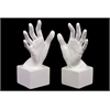 Benzara Lively Ceramic Polished White Hand Bookend