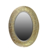 Metal Oval Wall Mirror Pierced Metal Weathered Gold