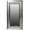 Metal Rectangular Wall Mirror Pierced Metal - Silver