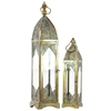 Benzara Metal Lantern With Ring Hanger Glass Sides And Square Base Set Of Two Pierced