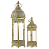 Benzara Metal Lantern With Ring Hanger Glass Sides And Hexagonal Base Set Of Two