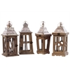 Assorted Set Of 4 Wood Square Lantern With Silver Pierced Metal Top