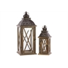 Wood Square Lantern With Black Pierced Metal Top