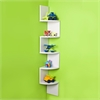 Large White Laminate Corner Wall Mount Shelf