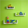 Floating 'U' Laminated White Shelves (Set of 3)