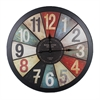 Benzara Stunning Wooden Metal Wall Clock In Rustic Appeal