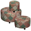 Benzara Set Of 3 Trendy Stripe And Check Ottomans
