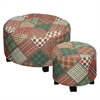 Benzara Stylish And Charming Set Of 2 Stripe And Check Ottomans