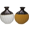 Designer Ceramic Vase-  2 Assorted, Black, white, yellow
