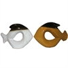 Alluring Ceramic Fish Decor- 2 Assorted, Yellow, White, Black