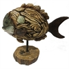 Creative Fish Decoration Polyresin, Natural wood