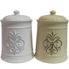 Sassy Ceramic Jar With Lid, Cream & White