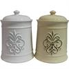 Sassy Ceramic Jar With Lid, Cream & White