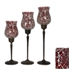 Benzara Arty 3Pc Red Mosaic Glass Candle Holders