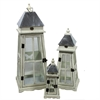Benzara Unique And Timeless 3Pc Wooden Lantern