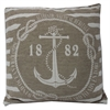 Classy Anchor Jarquard Cushion, Taupe and white