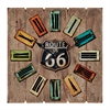 Square Shaped Route 66 Themed Wooden Wall Clock