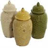 Benzara Set Of Three Ceramic Adorable Jars With Cover