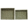 Unique 2 Piece Rectangle Trays - Snail Shell, Moss green