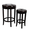 Benzara Soft And Sturdy Wood Round Leather Stool Set