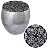Benzara Eccentric Black Damask Art Metal Stool