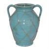 """Benzara 12"""" Ceramic Vase, Aqua"""