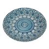 "Benzara 12"" Blue and Silver Glass Plate, Blue and Silver"