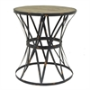 "Benzara 14973 29.5"" Metal and Wood Accent Table, Black and Brown"