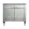 """Benzara 36"""" Silver Bevelled Mirror Cabinet, Silver"""