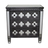 Benzara 16708 3 Drawer Mirrored Cabinet, Black